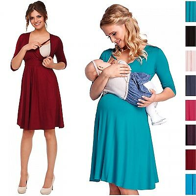 Happy Mama. Women's Maternity Nursing 2in1 Skater Dress 3/4 Sleeve Pockets. 784p