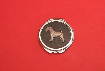 Airedale Terrier Pewter Motif Round Faux Leather Top Compact Mirror Mother Gift