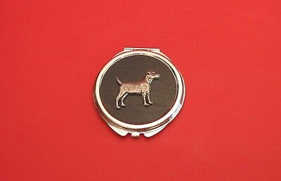 Patterdale Terrier Motif on Round Faux Leather Top Compact Mirror Mother Gift
