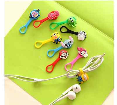 3Pcs Cartoon Earphone Headphones Wire Organizer Cable Cord Wrap Winder Holder