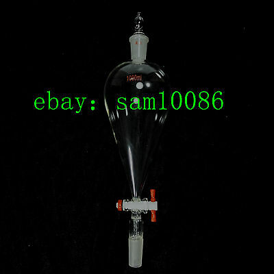 1000ml,Glass Separatory Funnel,Pear Shape,24/40,PTFE Stopcock,Ground Joint,Lab