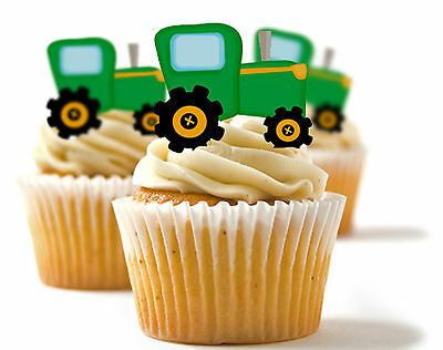 ✿ 24 Edible Rice Paper Cup Cake Toppings, Cake decs - Tractor ✿