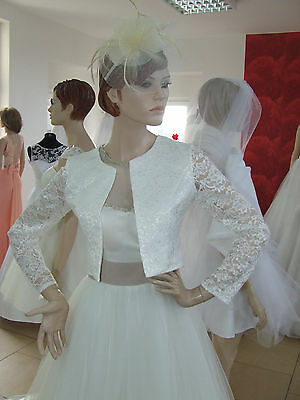 NEW Ivory Lace Bolero Shrug Wedding Jacket Long Sleeve - Various Sizes - P4