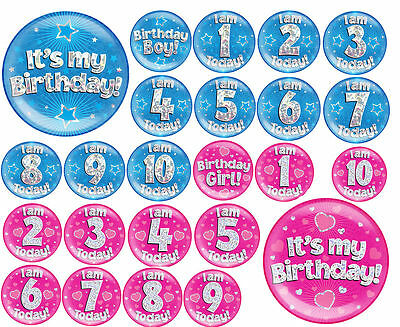 "Jumbo Birthday Badges 6"" Party Boys Girls Pink Blue All Ages Jumbo Birthday Badg"