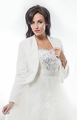 NEW Ivory Faux Fur Bolero Shrug Wedding Jacket Long Sleeve - Various Sizes - M2