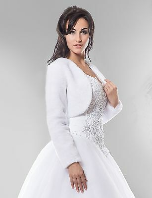 NEW Ivory Faux Fur Bolero Shrug Wedding Jacket Long Sleeve - Various Sizes - BM