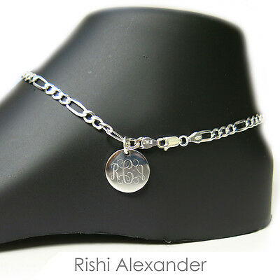 925 Sterling Silver 4mm Figaro Monogram Personalized Anklet