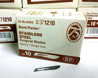 50 B-D Bard Parker Stainless Steel Surgical Blades No. 10 Cat. 371210