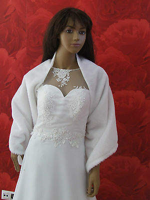 NEW Ivory/White Faux Fur Shawl Jacket Wrap Shrug Bolero Cape Bridal Wedding