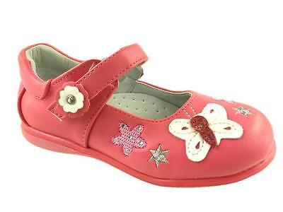 Girls Infant Mary Jane Hook And Loop Summer Shoes Leather Lined Pink Size Uk 4-9