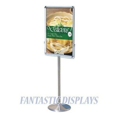 Free Standing Poster Stand Aluminum Frame Polished Silver Street Sidewalk Office