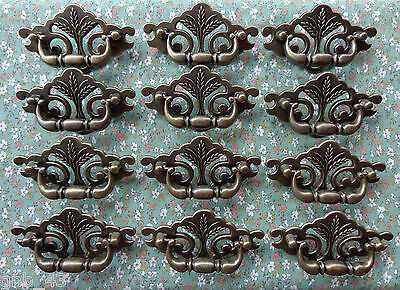 Set of 12 New Continental Brass Antique Brass Wheat Drawer Swing Pull