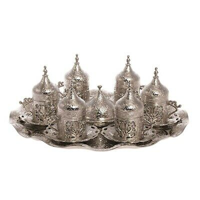 Ottoman Turkish Silver Brass Tea Coffee Saucers Cups Tray Set - TOP UK SELLER