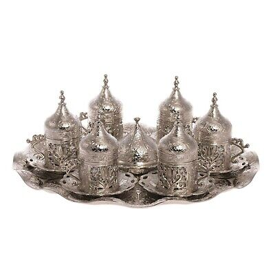 Ottoman Turkish Silver Metal Tea Coffee Saucers Cups Tray Set - Over 200 SOLD!!