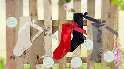 BNWT Girls Classic Knee Length Socks with Bows by Pretty Originals