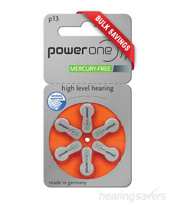 NEW Power One Hearing Aid Batteries p13 (size 13) MF from Hearing Savers