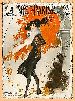 1920's La Vie Parisienne French Autumn Day France Travel Advertisement Poster