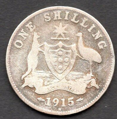1915H Australian Shilling  (1/-)   **used Condition ** King George V
