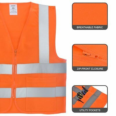 2 Pockets Orange Solid Mesh High Visibility Safety Vest, ANSI/ ISEA 107-2010