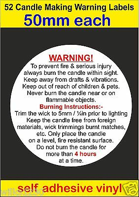 52 Large Candle Making Safety Warning Labels self adhesive vinyl Stickers decal