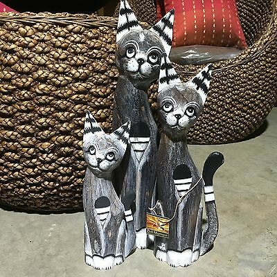 Cats Wood Carved - Set of 3 #1850