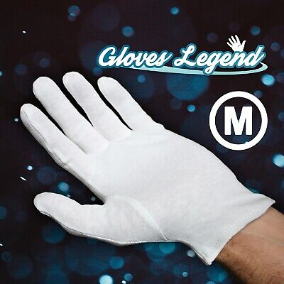 """10/"""" Long White Nylon Lint-Free Inspection Gloves Coin Jewellery Small//Medium lot"""