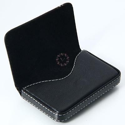Black Leather Business Name Credit ID Card Holder Wallet Case