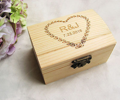 Personalized Wooden Wedding Ring Box Custom Your Names and Date Wood Ring Beare