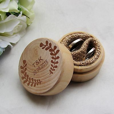 Personalized Round Rustic Wedding Wooden Ring Box Ring Bearer Ring Pillow