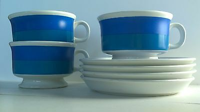 Arabia Finland 3 pcs Spektri Coffee Cups & Saucers by Ulla Procope