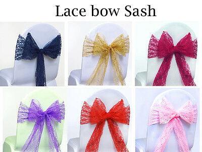 Wedding Lace Bow Sash for chair cover Bows sashes Wedding Banquet Party - 10 CLR