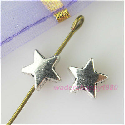60Pcs New Tibetan Silver Tone Charms Tiny Star Spacer Beads for DIY Crafts 7.5mm