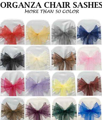 PACK OF 50 Organza Chair Cover Sash Bows sashes Wedding Banquet Party Reception