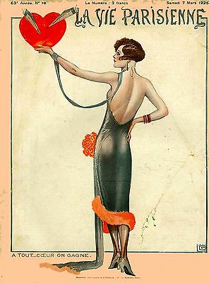 1920's La Vie Parisienne French Heart France Travel Advertisement Poster