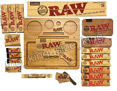 RAW Wooden Bamboo Rolling Tray + Raw Kingsize Papers + Tips + Raw Tin + Wick Set