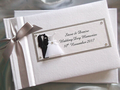Personalised Bride and Groom Wedding Day Photo Album Gift - Lots of Colours