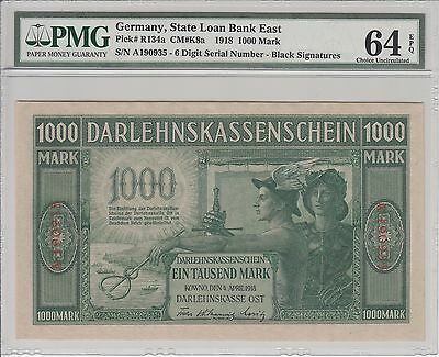 KOWNO 1000 Mark (1918) banknote UNC #R134a s/n A190935 Lithuania Germany Poland
