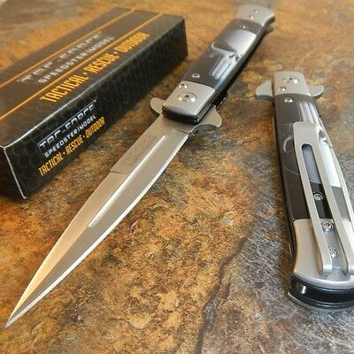 TAC-FORCE Spring Assisted Opening PUNISHER Skull Dagger Pocket Knife STILLETO