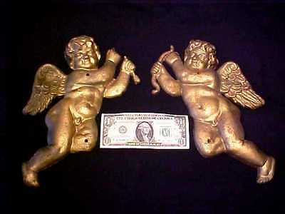 "PAIR Antique 12"" Cast Iron CUPID Putti CHERUB Wall Hanging GARDEN ART Figurines"