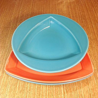 "HOMER LAUGHLIN Times Square Triangle 11¾"" Dinner Plates (2) & 11"" Pasta Bowl EUC"