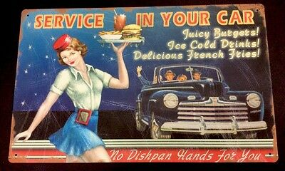 """50's Drive-In Car Hop Service In Your Car Vintaged Metal Sign 10"""" X 16"""""""