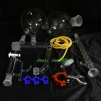 Essential oil steam distillation kit,Allihn Condenser,All Glassware Clamps,New