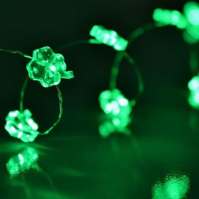 40 LED Green Shamrock St. Patrick's Day Battery Operated Fairy Lights (2 x 20)