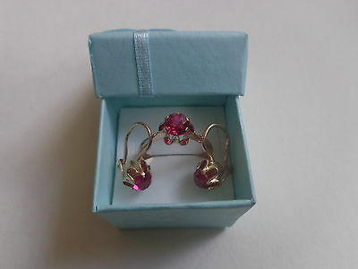 Vintage Soviet Rose Gold Set Earrings Ring 14K 583 Red Ruby Size 9 Russian USSR