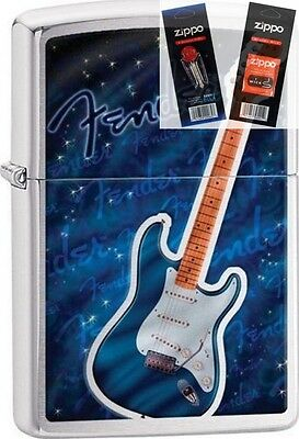 Zippo 29128 fender guitar Lighter with *FLINT & WICK GIFT SET*