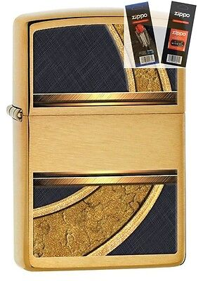 Zippo 28673 gold and black design Lighter with *FLINT & WICK GIFT SET*