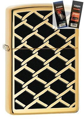 Zippo 28675 chain link fence design Lighter with *FLINT & WICK GIFT SET*