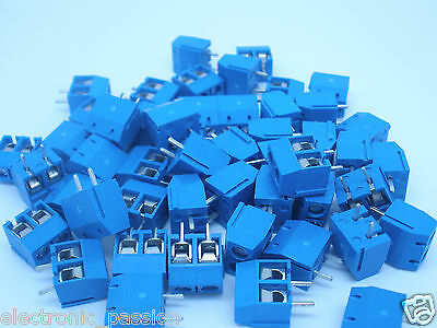 50 x 2 Way Terminal Screw Block Connectors 10A 300V  Modular 5mm Pitch for PCB