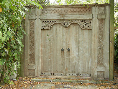 Large Javanese Balinese gate door original antique solid teak