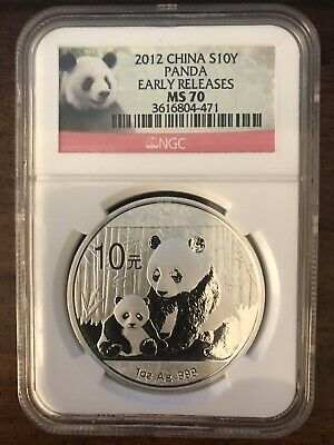 2012 China Silver 10 Yuan Panda 1oz Coin NGC MS 70 Early Releases